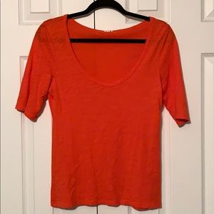 Red-orange Jcrew scoop neck tee